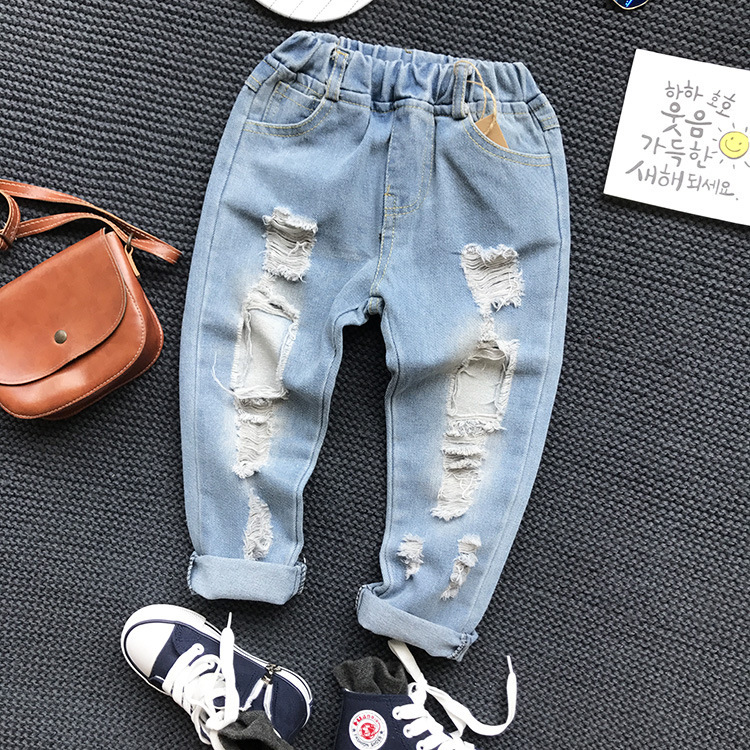 Unisex Casual-Style Ripped Jean