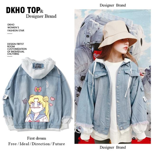 Star same paragraph Sailor hoodies sweatshirt denim jacket new spring and autumn short jacket two-piece suit 2