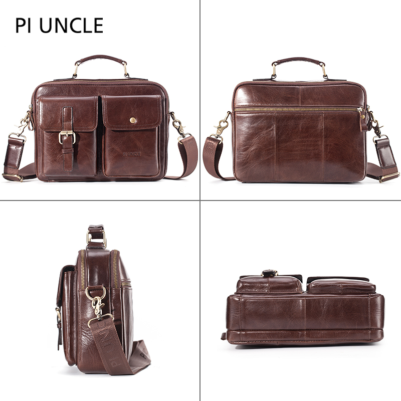 Image 5 - Mens Briefcase Pack Genuine Leather Shoulder Bag Male Vintage Crossbody Bags Men Messenger Multi Compartment Handbags LeatherTop-Handle Bags   -