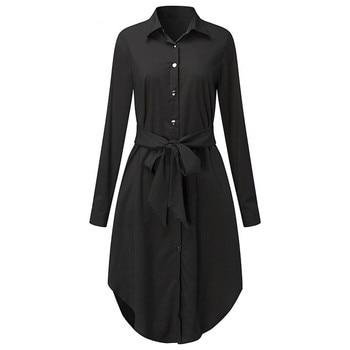 Women black turn-down collar Solid Color Shirt