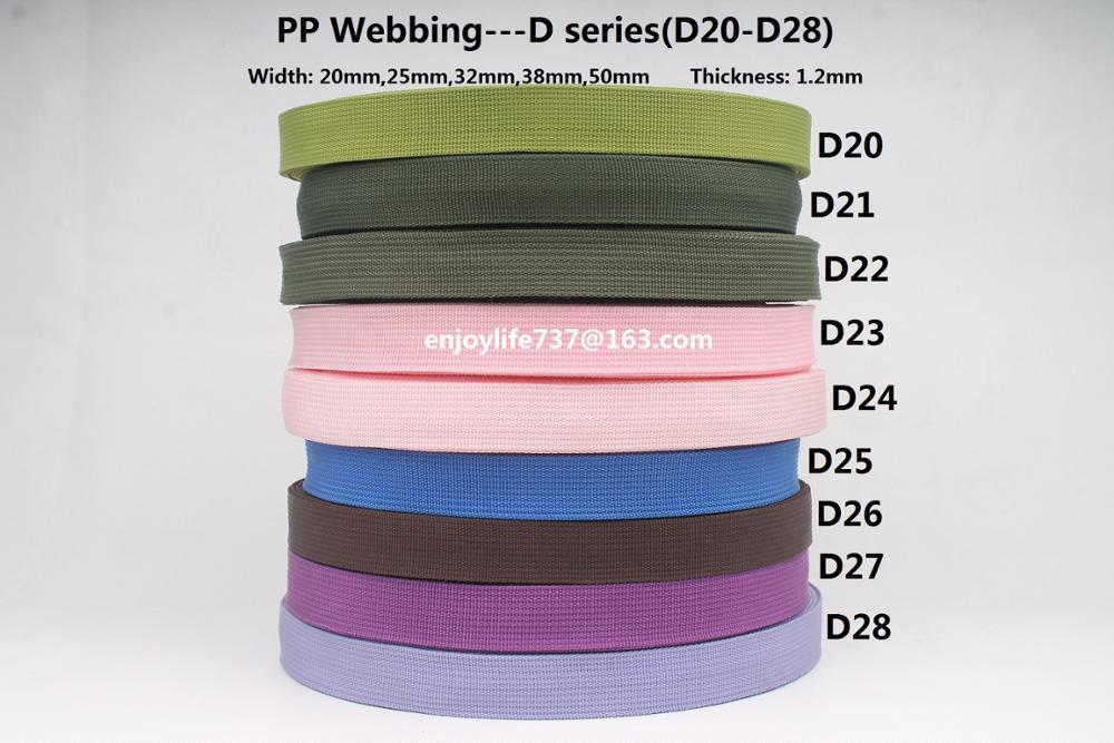20/25/32/38 / 50mm breites Polypropylen pp. Bändchen babygrün blau pink militärviolett maulbeer amerikanisch gemustertes Gurtband