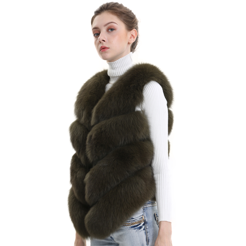 Women Natural Real Fox Fur Vest Autumn Winter Ladies 4 Strips Gilet Sleeveless Genuine Fur Coat Female Real Fur Vest Waistcoat