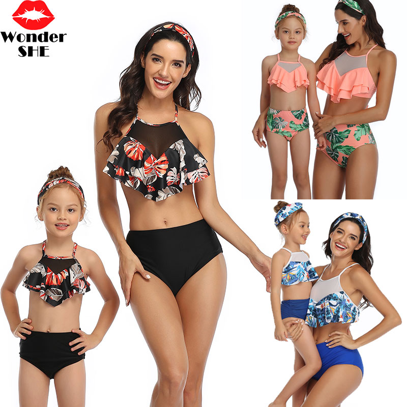 Mommy and Me Swimsuit Family Matching Set Outfits Mother Daughter Swimwear Womens Girls UV 50 Long Sleeve One Piece Swimsuit