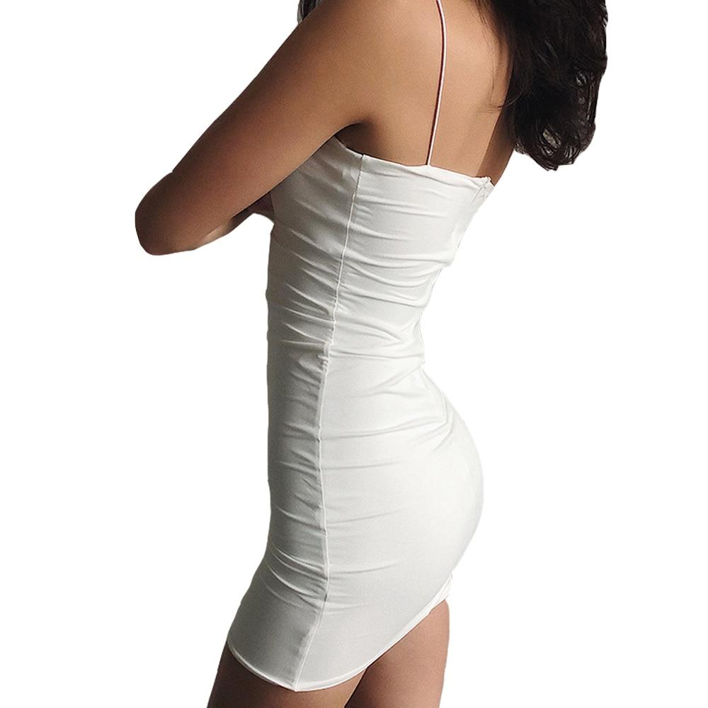 White Sexy Dress Women Spaghetti Strap Dresses Female High Waist Sheath Club Dress Short Summer 2020 Mini Sleeveless Vestidos