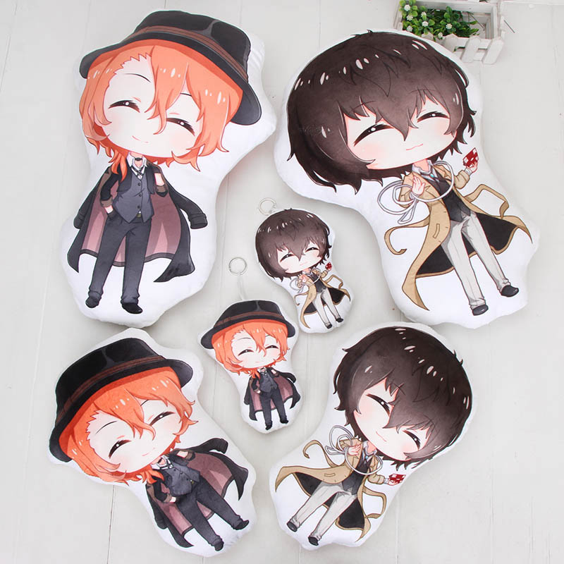 Bungo Stray Dogs Dazai Osamu Nakahara Chuuya Plush Toys Stuffed Plush 18-45cm Pillow For Kids Boys Children Birthday Gift