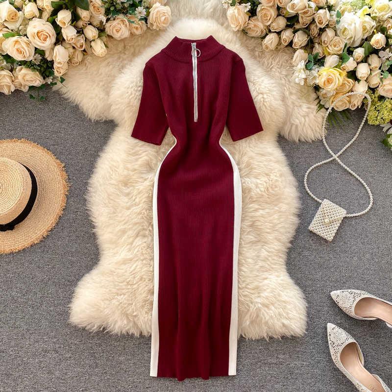 Neploe mulheres vestido de malha contraste cor zíper gola curta manga camisola vestidos magro bodycorn 2020 novos vestidos 4a602