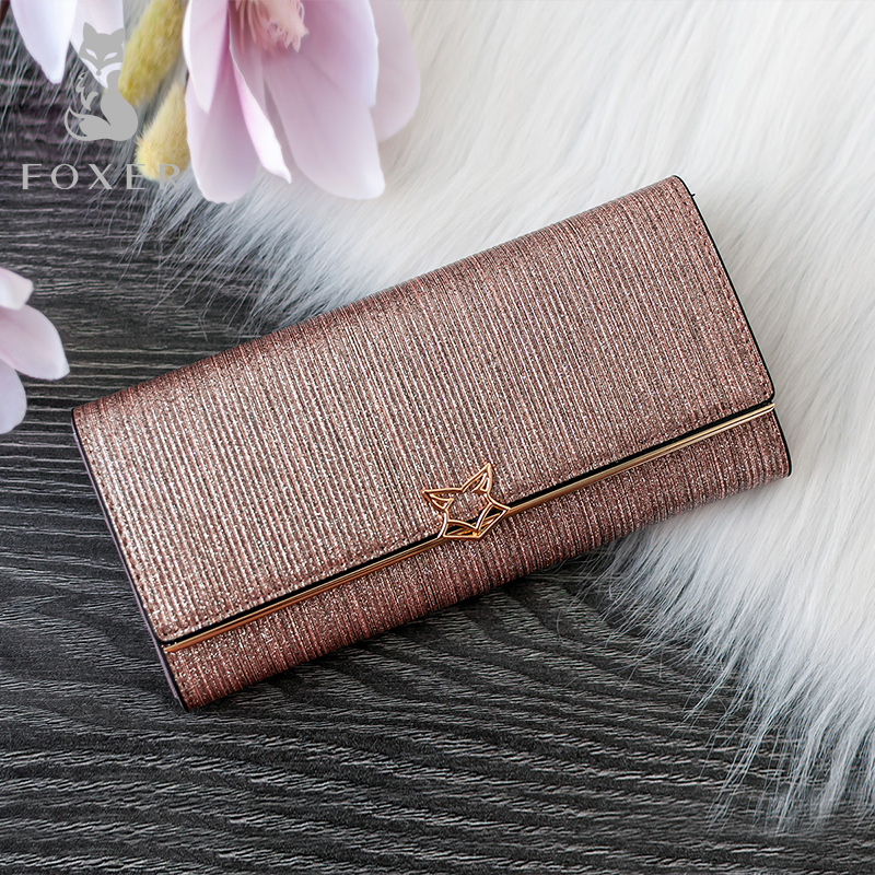 FOXER Brand Women Split Leather Wallets Female Clutch Bag Fashion Coin Holder Luxury Purse For Lady Women's Long Wallet