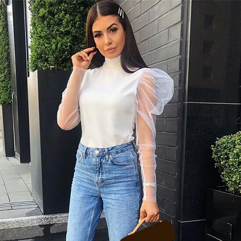 Newly Women Mesh Sheer Blouse Female Autumn Turtleneck Long Mesh Sleeve Sexy White Tops New 2020 See Through Shirt Blouses Black