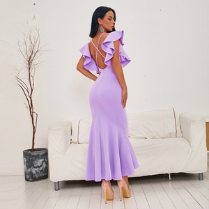 Image 4 - INDRESSME 2020 Spring New Women Sexy Mid Length Gown Backless V Neck Short Sleeve Ruffles Party Club Mermaid Dress Fashion Hot