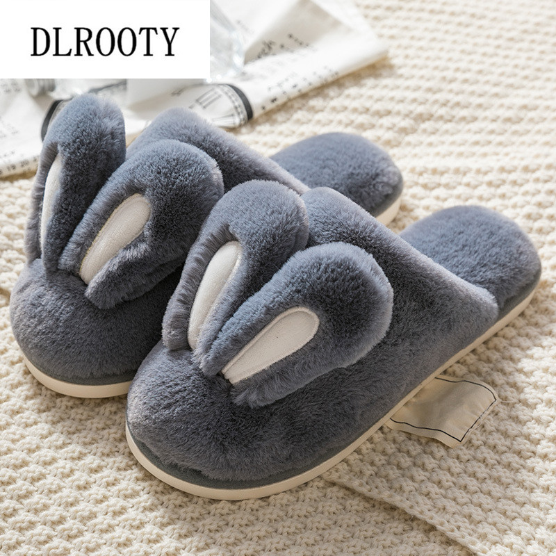 Men Slippers Indoor Flip Flops Winter Warm Rabbit Cute Fashion Platform Silent Non-slip Home Shoes Man Slides Flat Casual