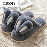 Men Slippers Indoor Flip Flops Winter Warm Rabbit Cute Fashion Platform Silent Non-slip Home Shoes Man Slides Flat Casual