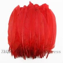 50-200 natural 15-20 cm pena de ganso tingido grande vermelho diy traje ofício pena