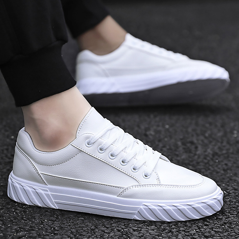 Vulcan Shoes Men Leather Sneakers Casual Shoes For Men Round Toe White Shoes Unisex Sneakers Student Shoes 2020