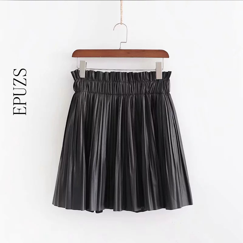 Fashion Black PU Fur Leather Skirts Womens Summer Elastic High Waist Skirt 2019 Sexy Chic Pleated Skirt Femme Streetwear