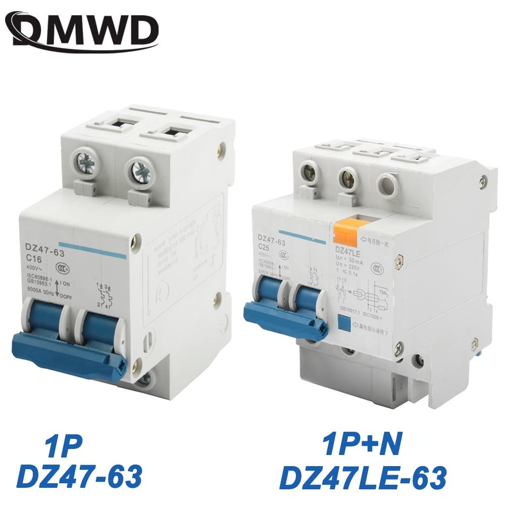 DZ47-63 Interruptor de circuito de corriente residual de fuga residual de 3Pole 220 380V 63A RCCB con protecci/ón de cortocircuito contra sobrecarga para seguridad de electrodom/ésticos