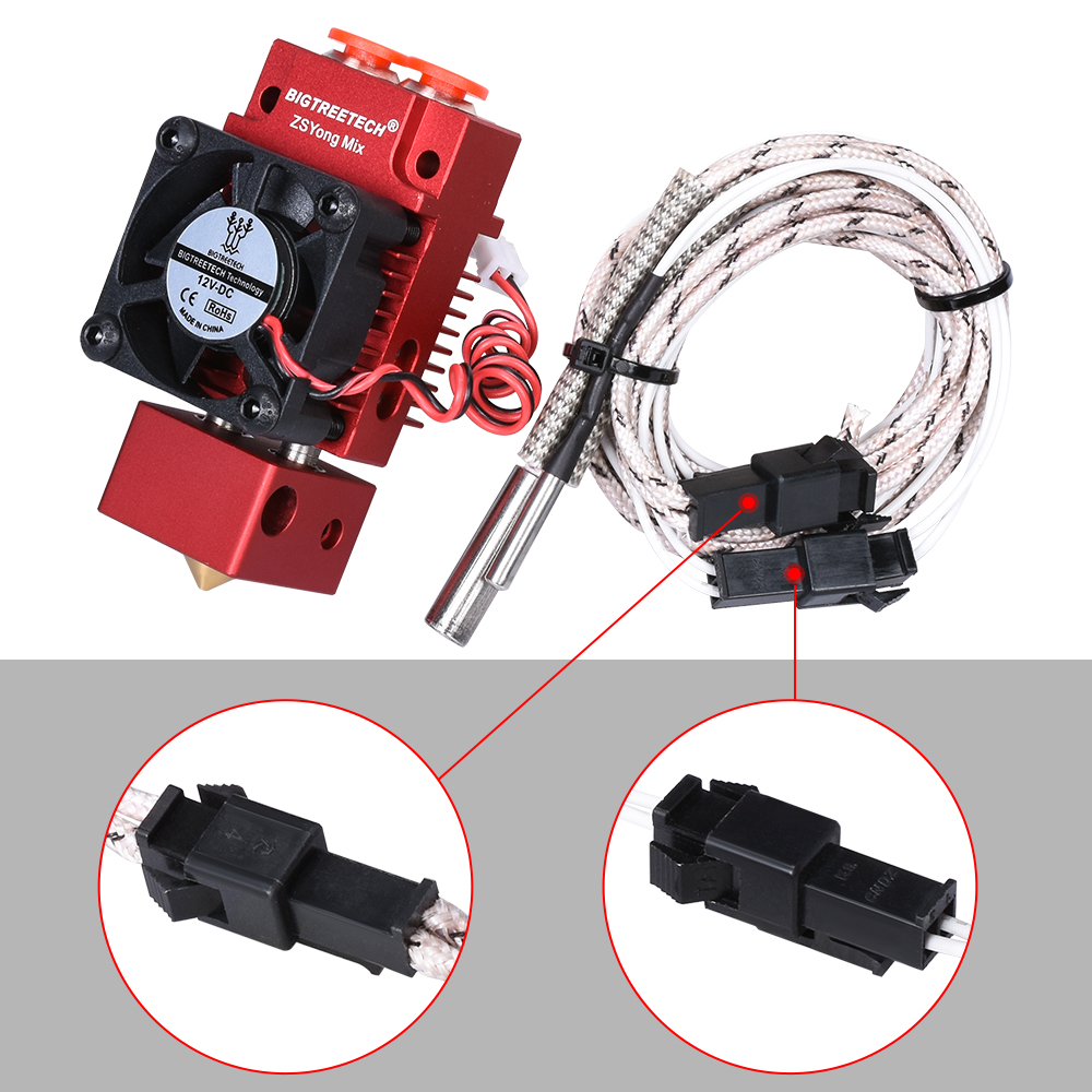 cheapest BIGTREETECH 2 IN 1 OUT Hotend Mixed Color Extruder 12V 24V Heater 3D Printer Parts Hotend J-head 1 75mm Filament for Titan MK8