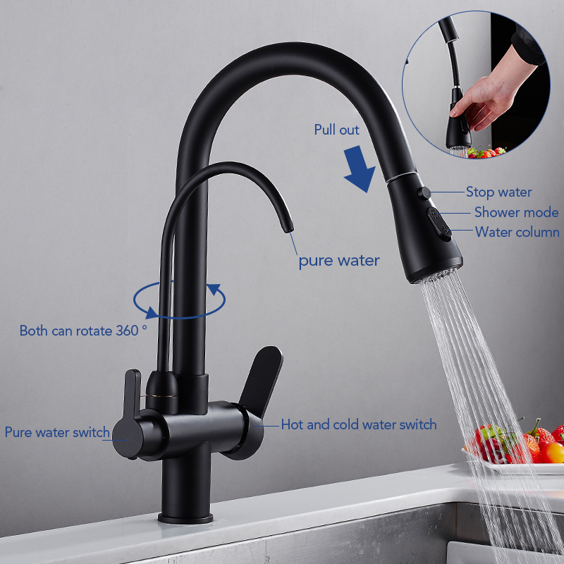 Deck Mounted Black Kitchen Faucets Pull Out Hot Cold Water Filter Tap for Kitchen Three Ways Sink Mixer Kitchen Faucet ELK9139B 6