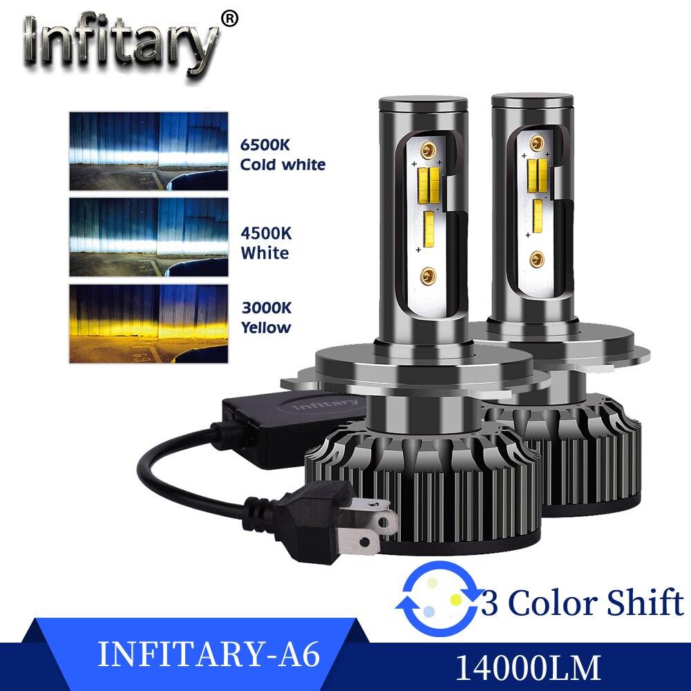 Infitary Car Headlight Bulbs H4 H7 Led 14000Lm H1 H3 H11 H13 880 9005 9006 HB4 3 Color Change 3000K 4500K 6500K Auto Fog Lamps