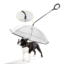 Pet Dog Adjustable Umbrella With C-shape Handle Rainy Day Traction Rope Transparent Walking Supplies