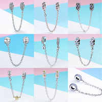 BISAER 925 Sterling Silver Pave Inspiration Star Safety Chain Clear CZ Stopper Charms Fit Bracelet DIY Bead for Jewelry Making