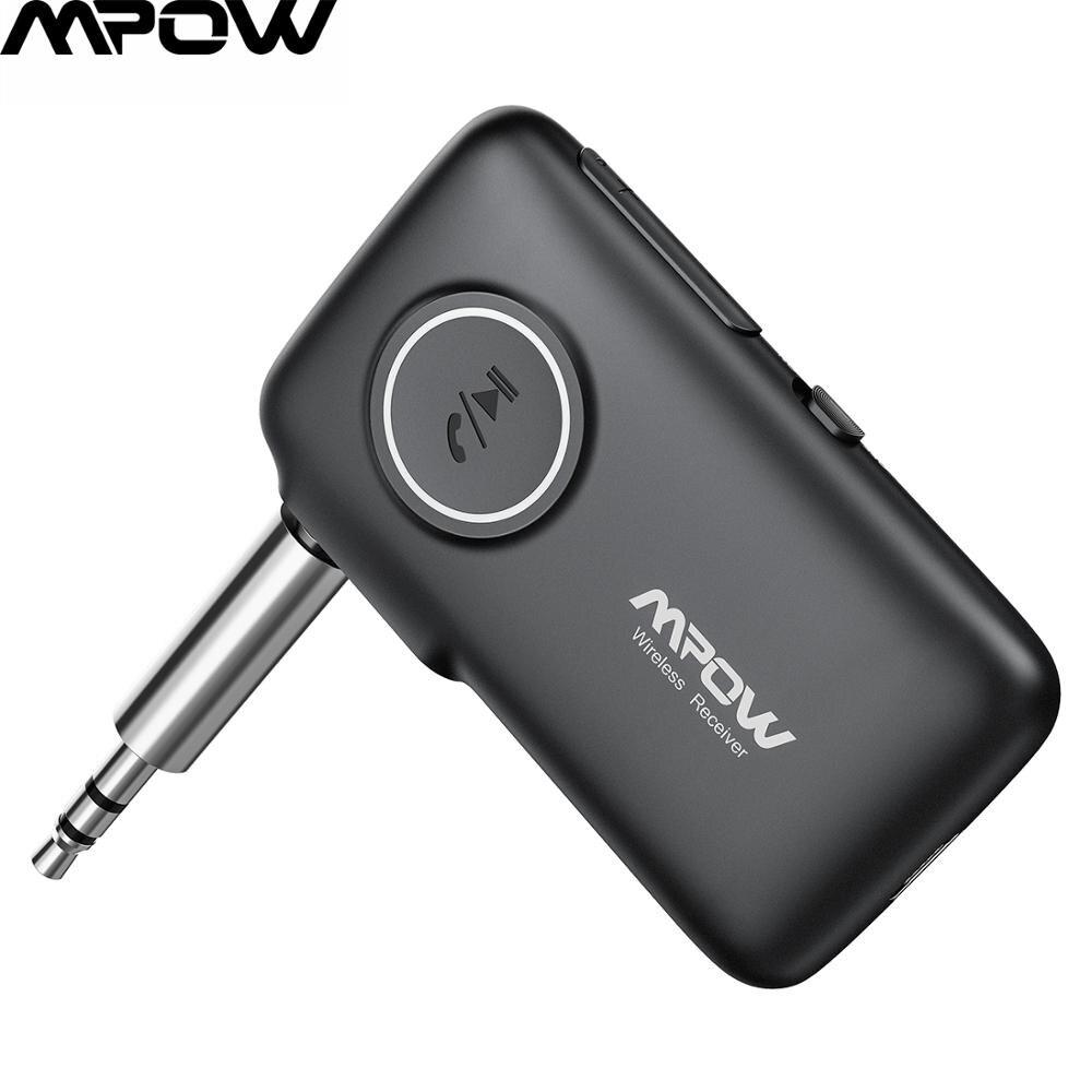 Mpow bluetooth receptor 3.5mm aac adaptador bluetooth handsfree com 15 h playtime para fones de ouvido speake áudio aux carro