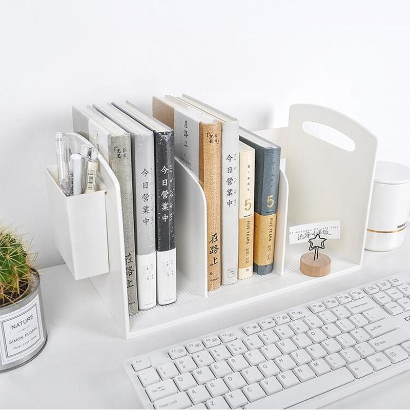 Creative Plastic Book Stand Holder Office Stationery Pen Holder Desk Book Organizer File Storage Rack School Stationery Supplies