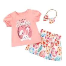 round neck t-shirt Girls cotton t-shirt and skirt set girls summer clothes. girls T-shirt and flared skirt gift hair bow