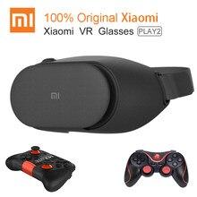 Xiaomi vr play 2 óculos de realidade virtual, fone de ouvido 3d original xiaomi mi vr play2 para telefone 4.7- 5.7 com controle do jogo de cinema