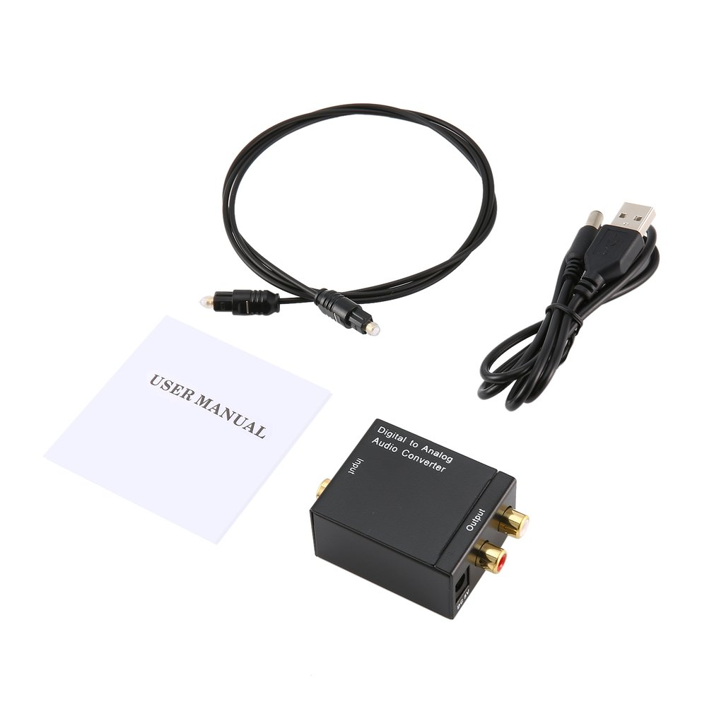 Black Digital Optical Coaxial Toslink Signal To Analog Audio Converter Adapter RCA Digital To Analog Audio Converter
