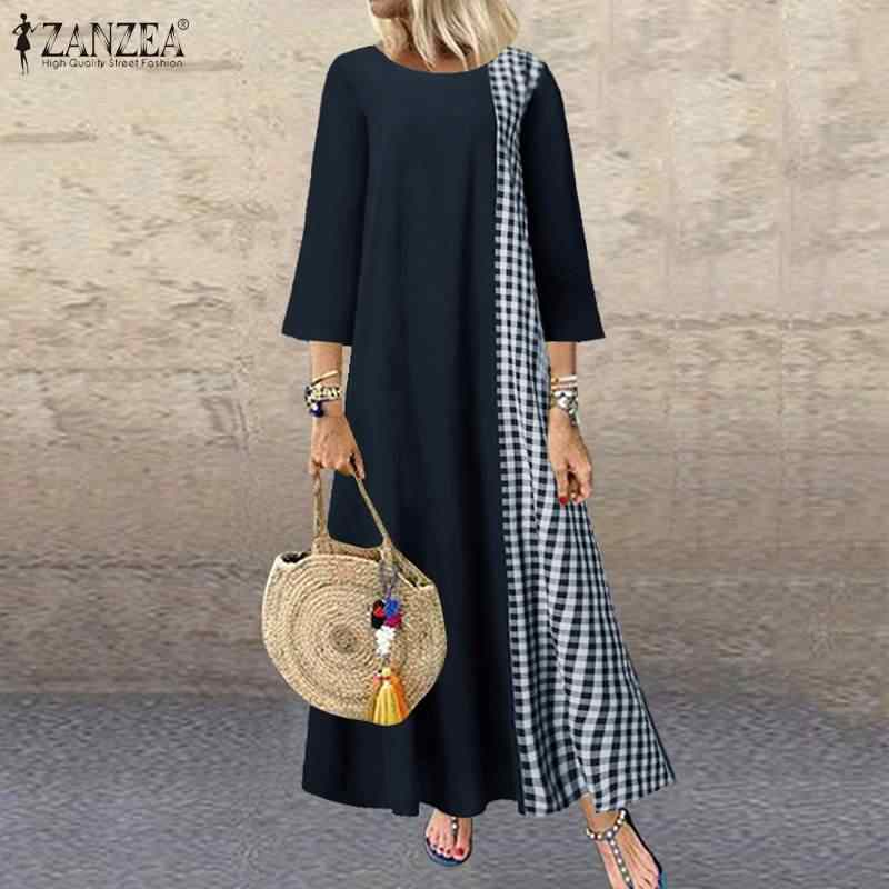Zanzea ドレス女性ヴィンテージ o ネックパッチワークチェック柄ドレス vestidos 女性プラスサイズの夏のビーチサンドレス 5XL