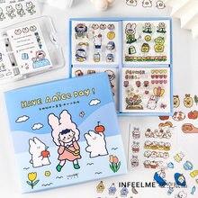 100 arkusz nonredundantne naklejki w opakowaniu zestaw słodkie zwierzaki dziennik naklejki Kawaii dekoracje księga gości DIY stacjonarne artykuły szkolne