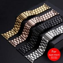 Pulseira luxuosa clássica de aço inoxidável, pulseira para apple watch 38mm 42mm 1:1 para apple watch iwatch pulseira 40mm 44mm