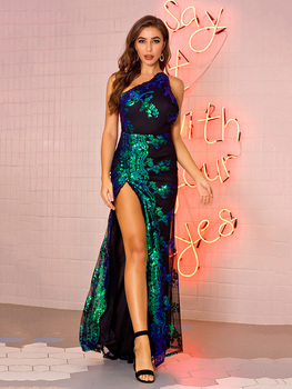 цена на Sexy Backless Sequined Gown Diamond Sash Elastic Evening Dress Hight Slit Tulle Gown One-shoulder Sleveless Long Robe Dress