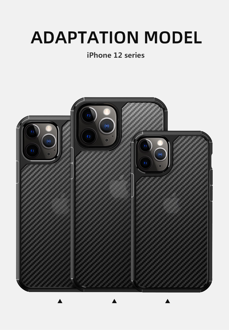 Clear Crystal Carbon Fiber Texture Durable Hybrid Soft TPU Bumper + Hard PC Back Cover Case for iPhone 12