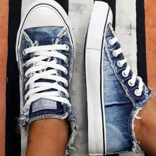 Zapatillas planas de mezclilla Retro para mujer, zapatos vulcanizados para mujer, mocasines con cordones para mujer, moda 2020, informales para estudiantes