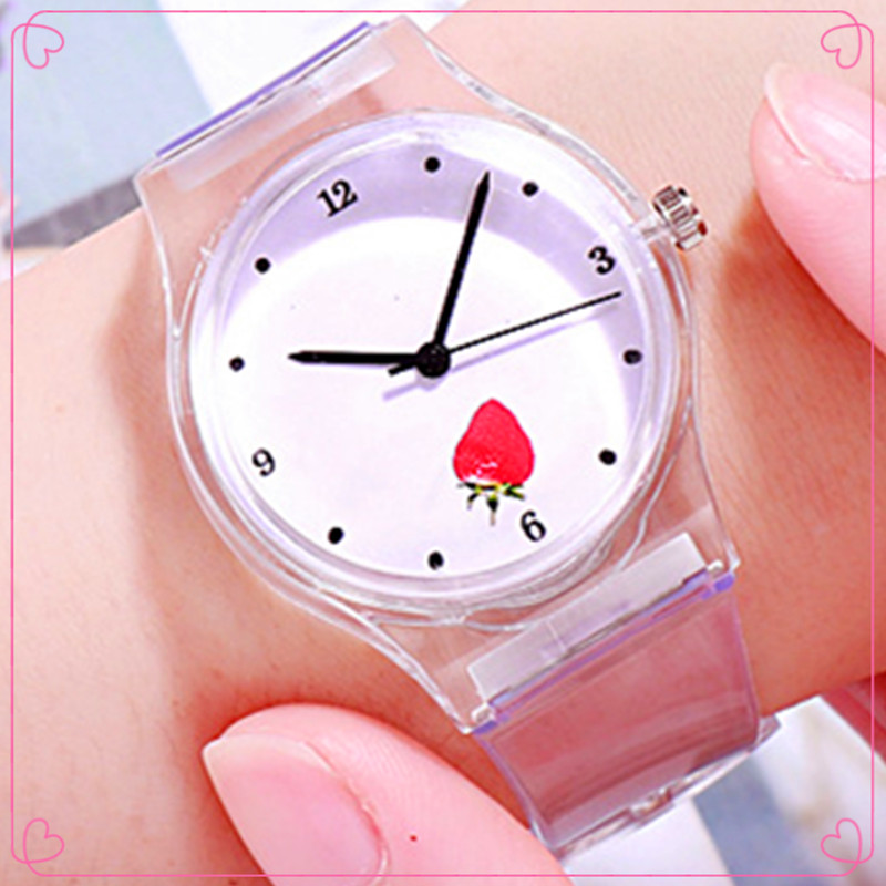 2020 New Cartoon Fruit Strawberry & Cherry Child Watch Transparent Silicone Strap Boy Girl Kid Watch Suitable For 1-8 Years #7