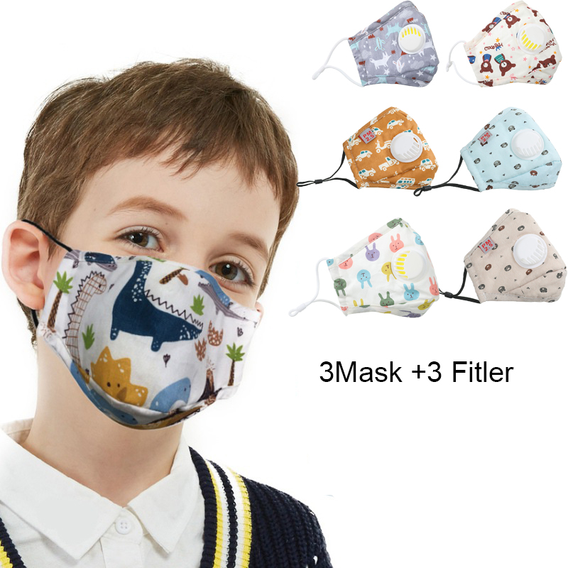 3Set Children Anti Dust Face Mask For Children Carbon Filter Boys Nose Mouth Mask Cartoon Printed Cute Baby Daily Mask
