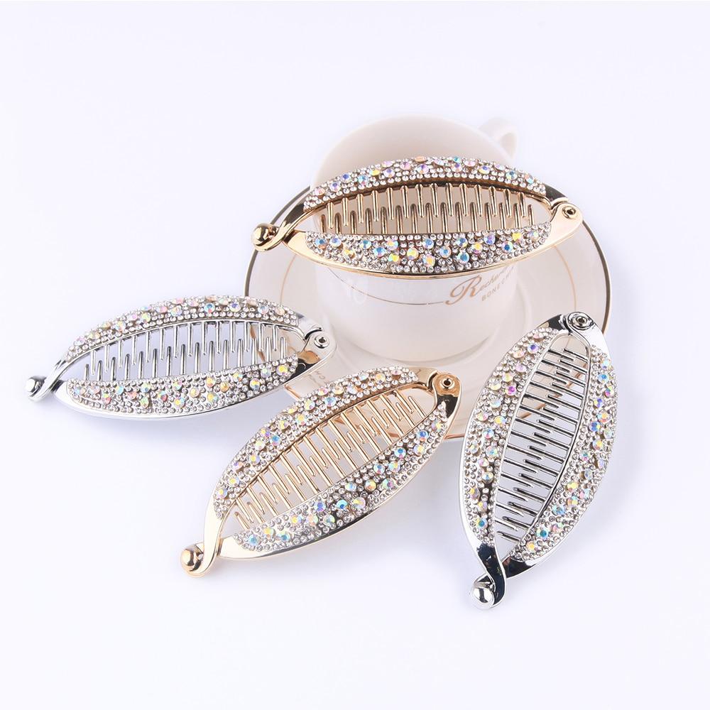 2020 Fashion Banana Shape Hair Claws Rhinestone Fish Clip Hairpins Hair Accessories For Women Hair Clip Clamp DIY Accessories