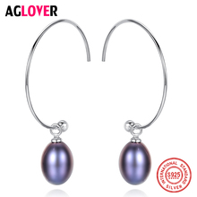 AGLOVER New 925 Silver Earring Big Half Circle Earrings Natural Freshwater Pearl Drop Earrings For Women Gift Fine Jewelry Party