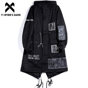 11 BYBB'S, темный длинный мужской Тренч, 2019, модная готическая Черная ветровка с капюшоном, куртки в стиле хип-хоп, уличная одежда, пальто