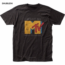 T-Shirt Men Short-Sleeve MTV Brand-Clothing Adult Tops O-Neck Licensed Want My-Mtv-Fitted