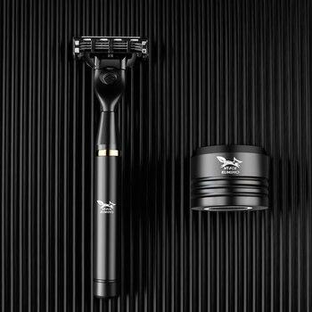 Black Manual Shave Razor Three Layer Blades Razor for Men Shaving Razor Blades Safety Razors Face Care Beard Shavers Gift Box 6