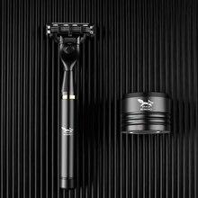 Preto manual de barbear navalha três camadas lâminas de barbear para homens lâminas de barbear segurança lâminas de barbear cuidados com o rosto barbeadores de barba caixa de presente