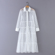 Beach Dress Women 2019 Summer Street Womens Lapel Long Sleeve Robe Femme Longue Ete Korean Fashion Clothing