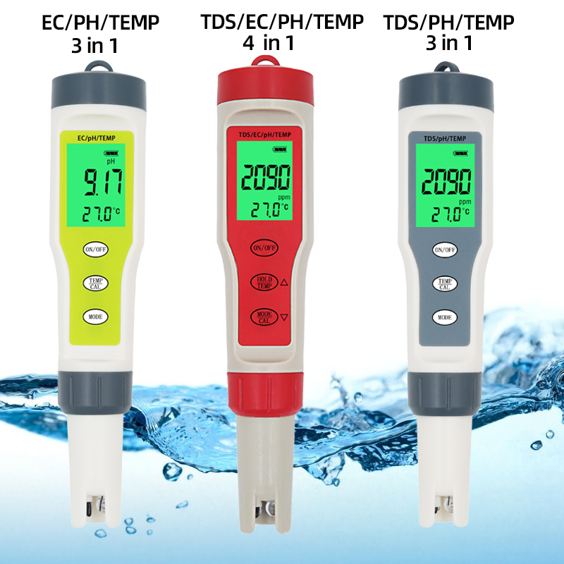 PC-101 PH Meter ORP Chlorine Meters TDS Salinity Testers EC Temp Detector  Water Quality Monitor Test Tool Filter For Pool 40%OF