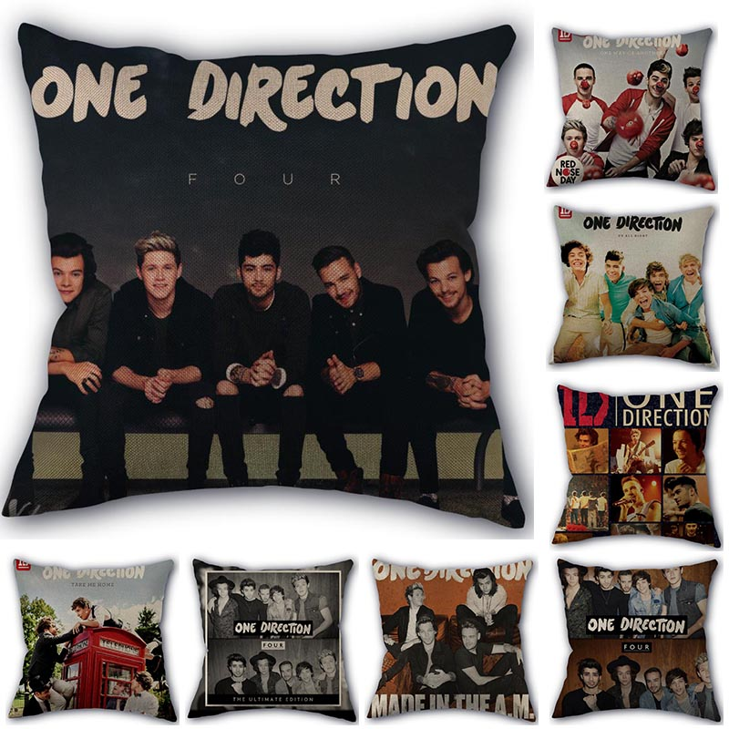 Custom Pillow Cover One Direction Home Textile Square 45X45cm Decorative Cotton Linen No Fade Pillowcase Christmas Gift