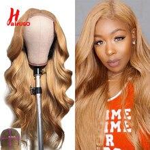 HairUGo – perruque Lace Closure Wig Remy péruvienne 4*4, cheveux naturels ondulés, blond miel, pre-plucked, avec Baby Hair, 150%