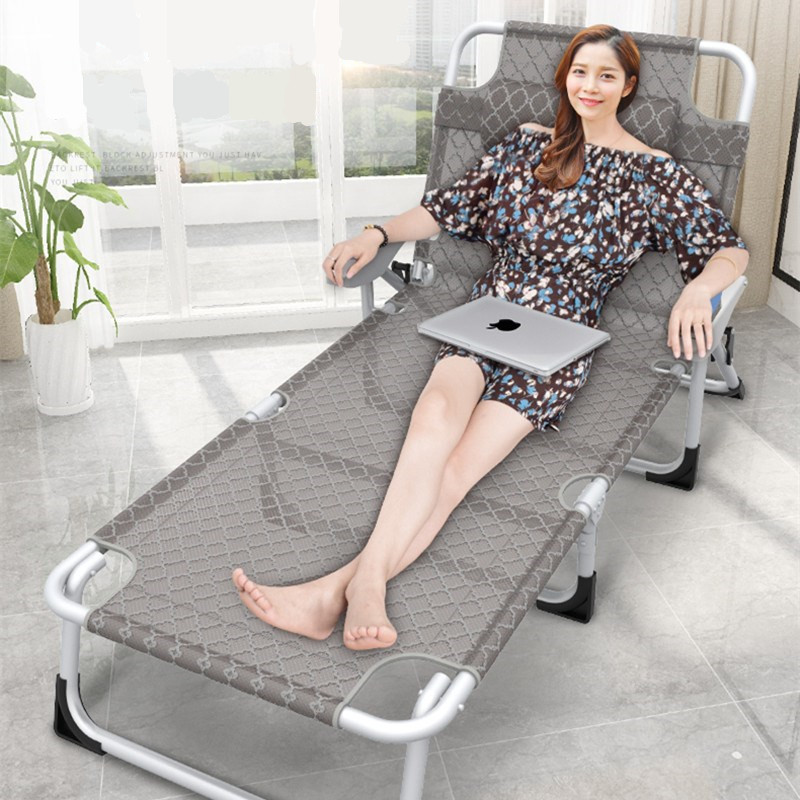 Multifunction Folding Lounge Chair Home Office Nap Bed Simple Recliner Portable Camp Beach Bed