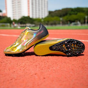 Pary buty lekkoatletyczne złote kolce buty lekkoatletyka mężczyźni wiosna lekkie męskie buty do biegania trampki buty wyścigowe tanie i dobre opinie LUONTNOR Bezpłatne elastyczne Lace-up Cotton Fabric Buty utwór i pola Syntetyczny Pcv podłogi Średnie (b m) Zaawansowane