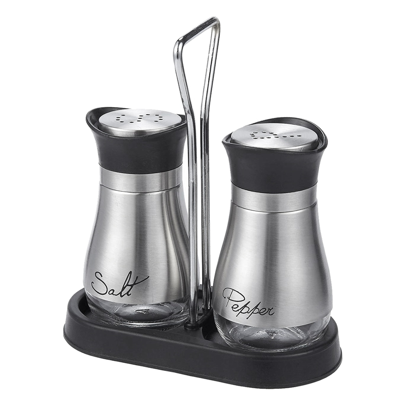 Salt and Pepper Shakers Set - High Grade Stainless Steel with Gl Bottom and 4 inch Stand - 4 inch x 6 inch x 2 inch, 4 Oz.